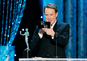 Bryan Cranston after winning, checking his make-up