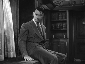 Cary Grant after finding a surprise in window seat (Arsenic and Old Lace, 1944)