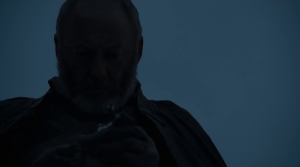 GoT 6x09 Davos finds Shireen's toy stag